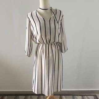 Striped Midi Choker Dress
