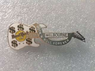 """Hard Rock Cafe Pins - MELBOURNE HOT & RARE 1999 WHITE INXS GUITAR WITH DOLLAR SIGNS & """"ROCK N' ROLL FOREVER""""!"""