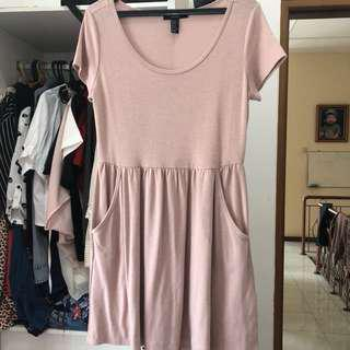 F21 Blush Pink Flare Dress // Dress selutut