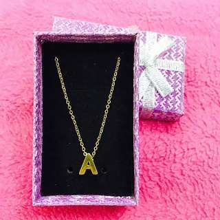 Stainless initial necklace with box