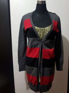 Bossini L Striped Long Knit Cardigan