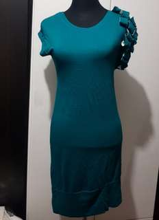 Green Bodycon Dress with Single Shoulder Embellishment Preloved