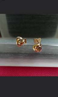 "14K585 Tri~Color ""Love Knot"" Earrings  New & ItalyMade  18K750 三色金耳環"