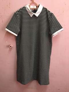 Stripe Collar Tshirt Dress