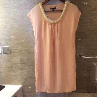 Mango Suit Original Authentic 100% - peach dress with neklace, size EUR S fit to big M #diskonloh