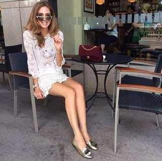 🚚 Chiara Ferragni Flirting眨眼亮片粉黃綠色樂福鞋39號