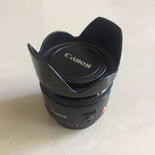 Canon 50mm lens with hood