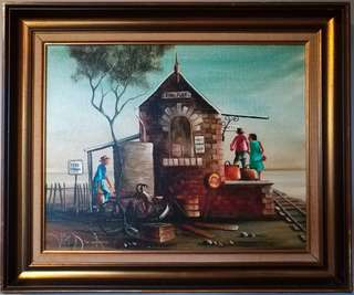 """Max Mannix Orignal Oil painting Framed """"Title """"The Whistlestop"""""""