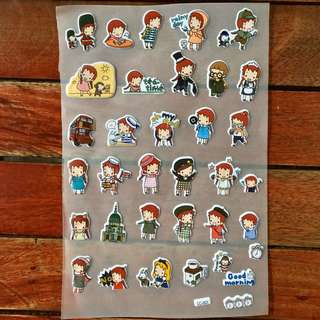 Puff Stickers (red hair)