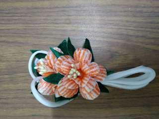 Homemade orange round petals flowers bunch