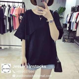 🚚 Black oversized pocket tee