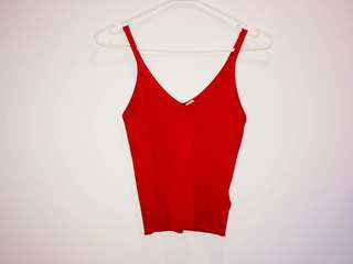 RED RIBBED SINGLET