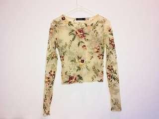 MESH FLORAL EMBROIDERED TOP