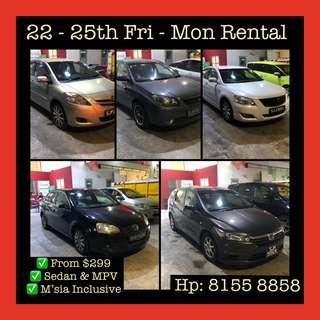 Fri - Mon Weekend Car Rental Hari Raya