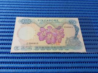 Singapore Orchid Series $50 Note A/50 799911 Nice Number Dollar Banknote Currency