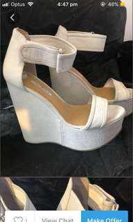 Tony Bianco White Bone Wedges 7.5