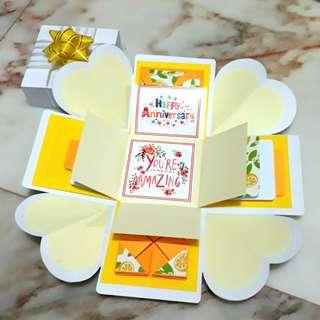 #SALE Explosion Box - lemon yellow, gift for anniversary, birthday
