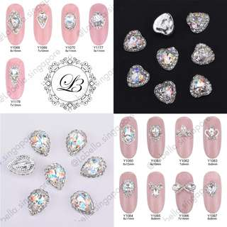 🚚 Glitter glass gems Alloy 3D nail jewelry