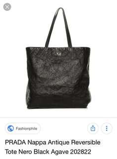 PRADA Nappa Antique Reversible Tote Nero Black Bag