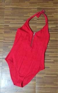 Forever 21 Red Halter Bodysuit