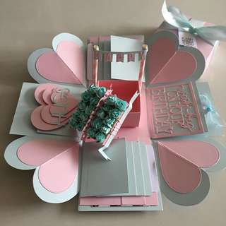 Explosion box with gift box , 8 waterfall  in pastel blue & pink