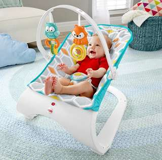 BN Fisher-Price Comfort Curve Bouncer Rocker, Blue / Grey / Multicolour