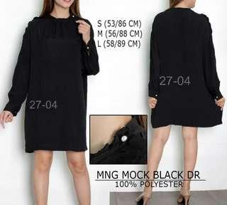 Mango Mock Neck Black Dress
