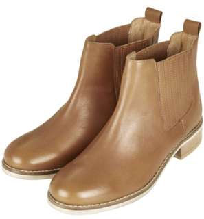 Topshop Tan Cowhide Chelsea Boots 38 Genuine Leather Pull On Ankle Booties