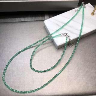 極細天然祖母綠色 綠玉髄鎖骨鏈手鏈一套