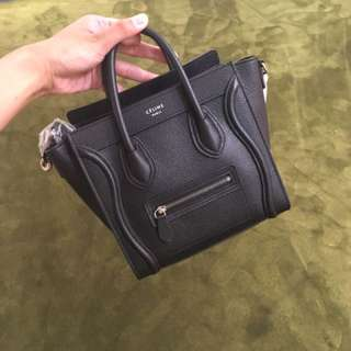Celine Luggage nano size in black