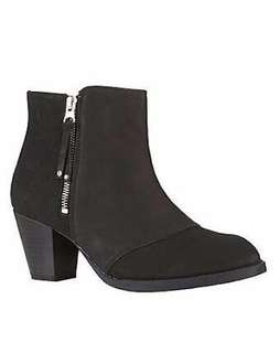 Topshop Mighty Black Leather Moto Ankle Boots with Silver Side Zipper Zip Up Booties 38 Genuine Cowhide Leather