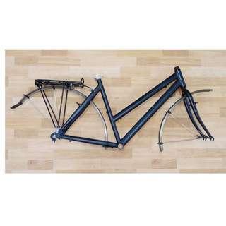 Bicycle frameset 700c aluminium trekking tour commuter baby child carrier shopping v brake