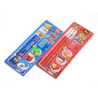 3pc Cartoon Pencil Set with Erasers (Assorted)
