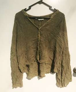 Tree of Life - olive green bell sleeve top