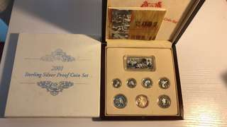 Singapore 2001 silver proof coin set