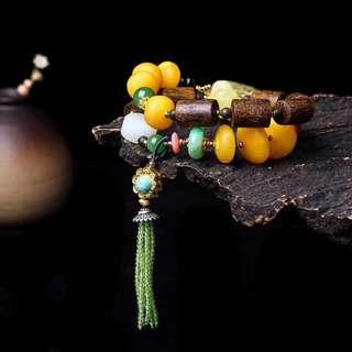 天然老蜜蠟天然金珀雕刻直徑30mm14k金珠