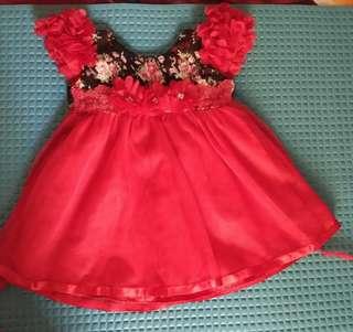 Dress anak merah flower