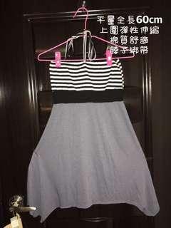 🚚 條紋平口 傘狀洋裝