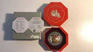 Singapore 2017 Rooster 1 OZ silver proof colour coin