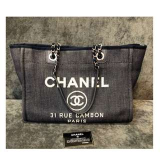 Authentic Chanel Deauvill Denim Medium Bag