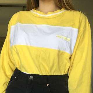 yellow stripe long sleeve shirt