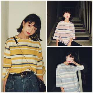 Women Stripe Oversize Tee