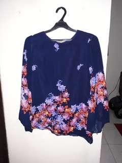 Floral chiffon long sleeved shirt
