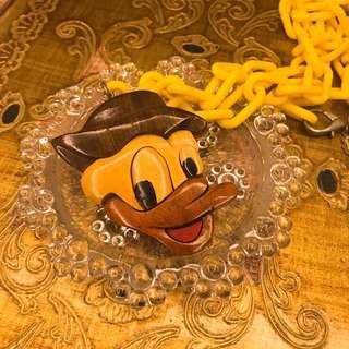 早期收藏 稍有年代 老飾品 木製 迪士尼 唐老鴨 Donald Duck  黃色 懷舊 絕版 塑膠 長 項鍊