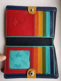 Red Visconti Wallet (Rainbow interior)