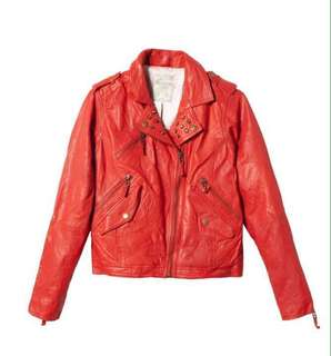 PULL&BEAR Red Leather Jacket (for ladies)