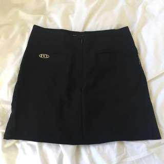 Front Zip Black Skirt