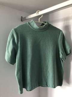 Green Turtleneck Top