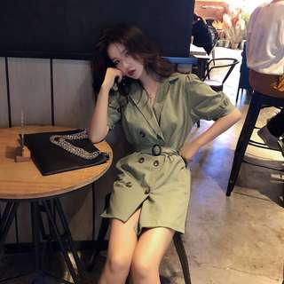 ❤️實拍🇰🇷韓國chic氣質雙排扣西裝連身裙