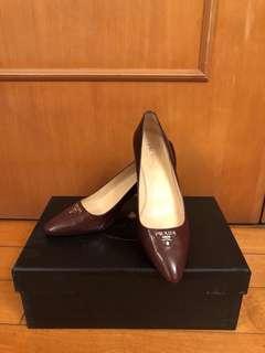 Prada 棗紅啡色高跟鞋 37號